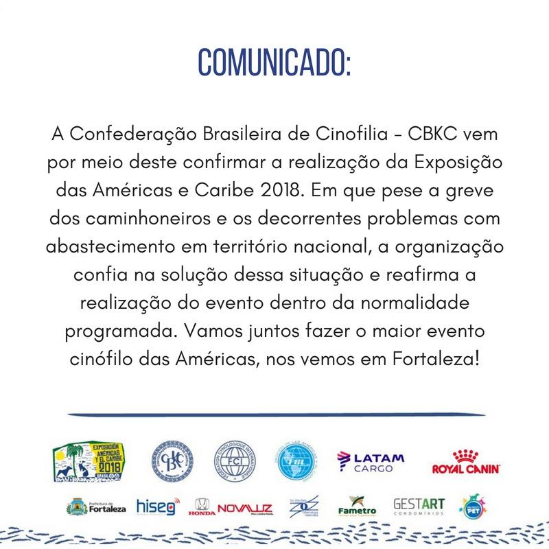 Comunicado CBKC: Exposição Americas y el Caribe