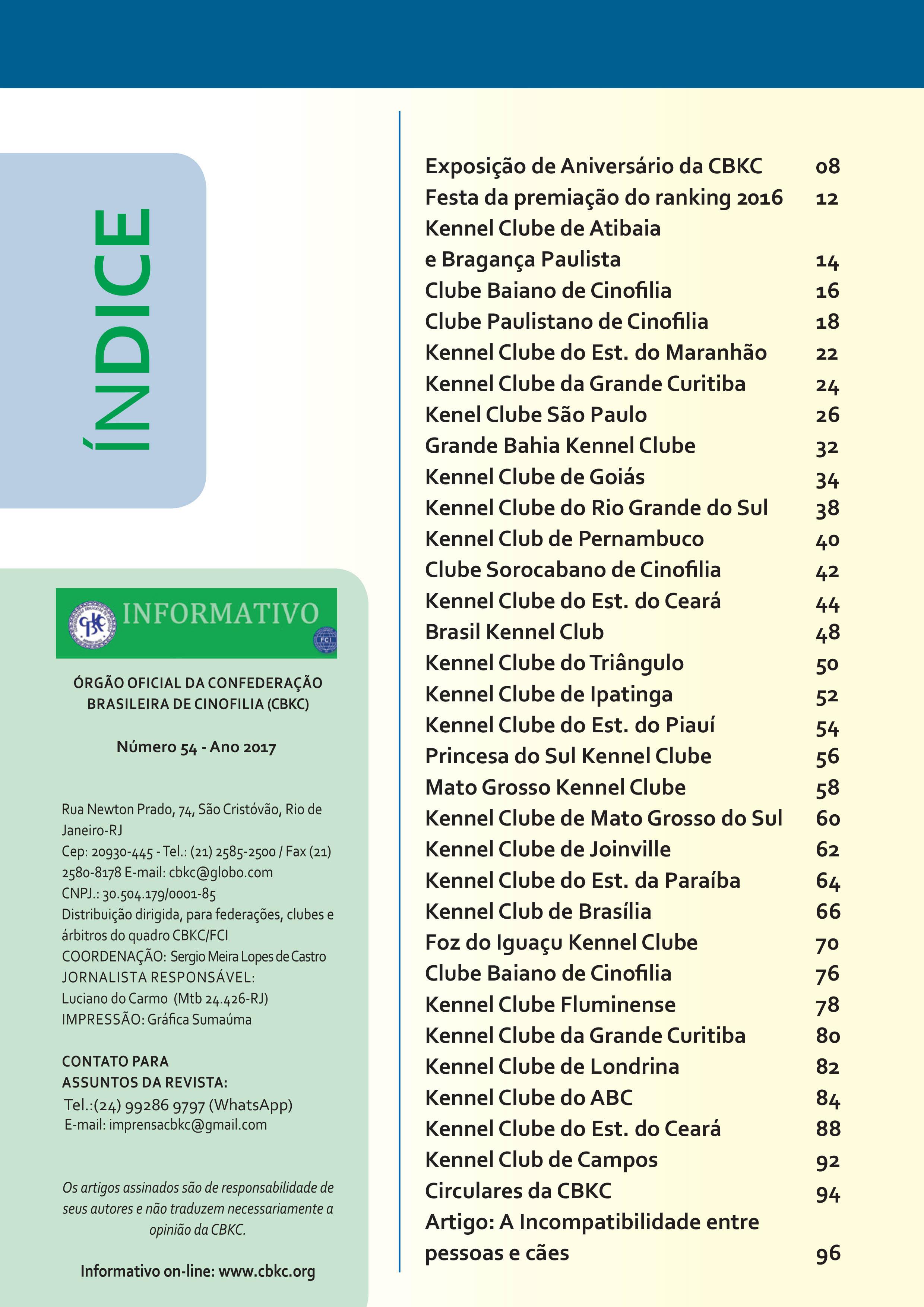 Pagina 2| Edição 54 do Informativo CBKC