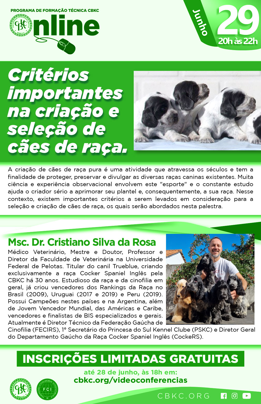 Imagem Videoconferências CBKC: Critérios Importantes na Criação e Seleção de Cães de Raça
