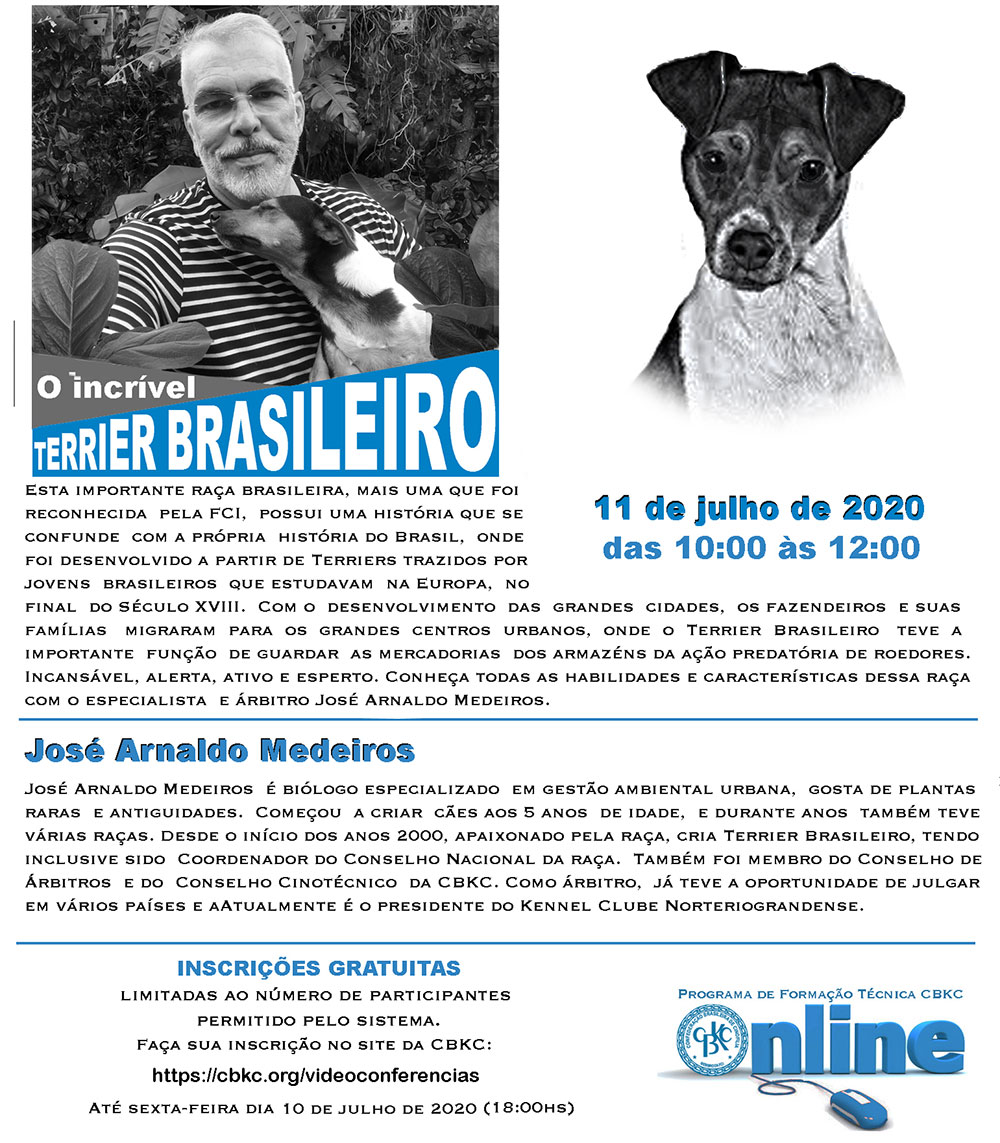 Imagem Videoconferências CBKC: O incrível Terrier Brasileiro