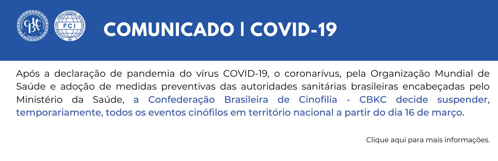CBKC - Comunicado CBKC - Covid-19.